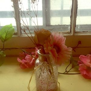 Floral jar with dried flowers
